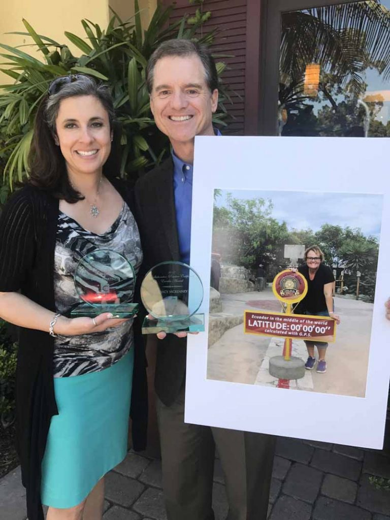 Eureka Award winners for 2017 Diana L. Martinez (left) and Scott McKenney for his late wife and former CDSOC board president Tracy McKenney at the 2017 Collaborative Practice California conference.