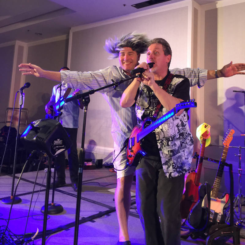 """Collaborative Divorce Solutions of Orange County member Scott Cramer (left) believes it's important to work hard and play harder! Seen here with San Diego practice group member Mark Hill in a """"guest appearance"""" with Hill's band """"No Country For Old Men."""""""