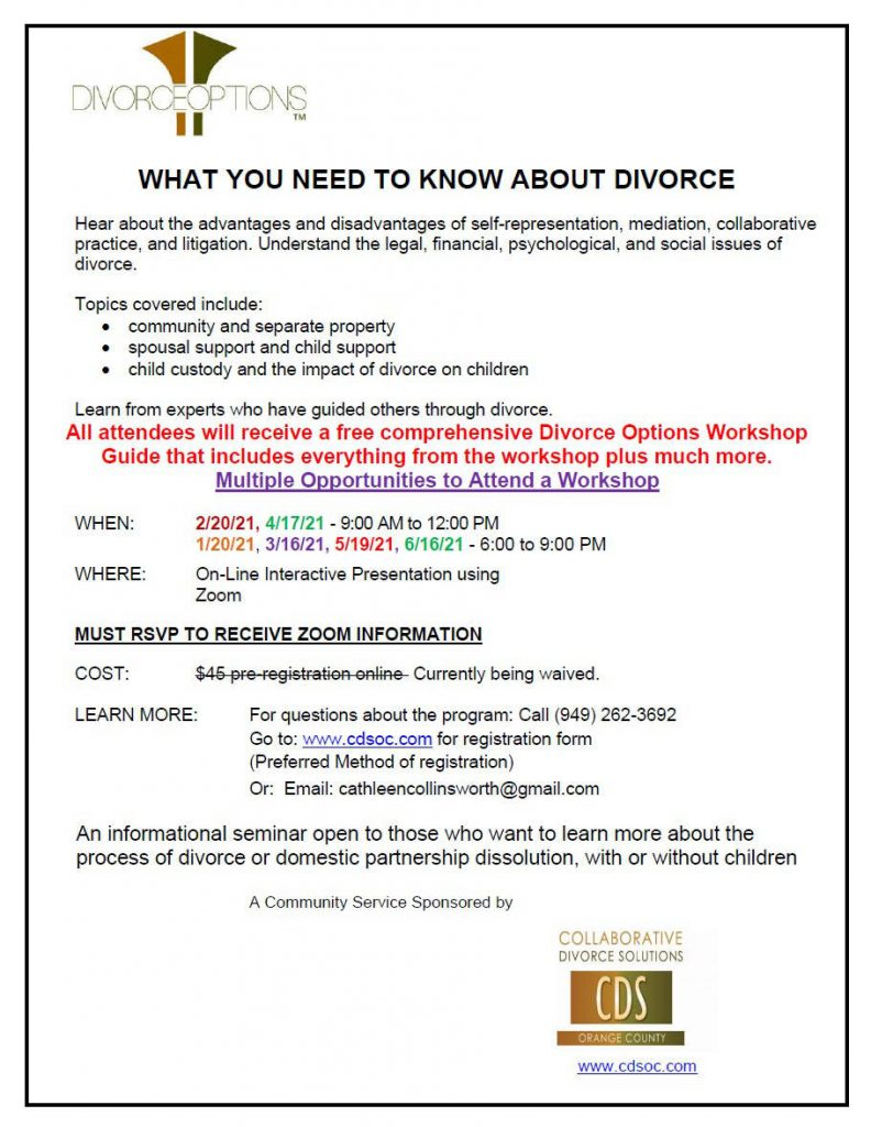 Divorce Options Flyer 2021 February June 2021 Zoom